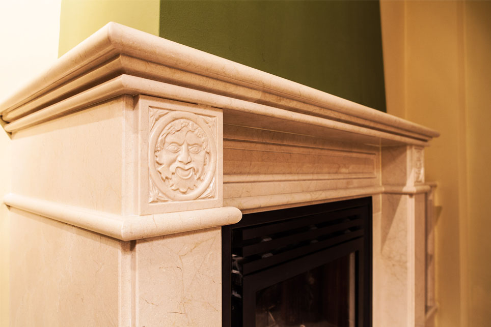 cream marble fireplace with carved medallions m rmoles santo domingo. Black Bedroom Furniture Sets. Home Design Ideas