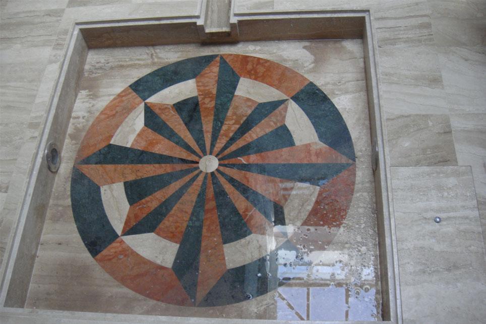 Mosaico para fuente de patio m rmoles santo domingo for Mosaicos para patios precios