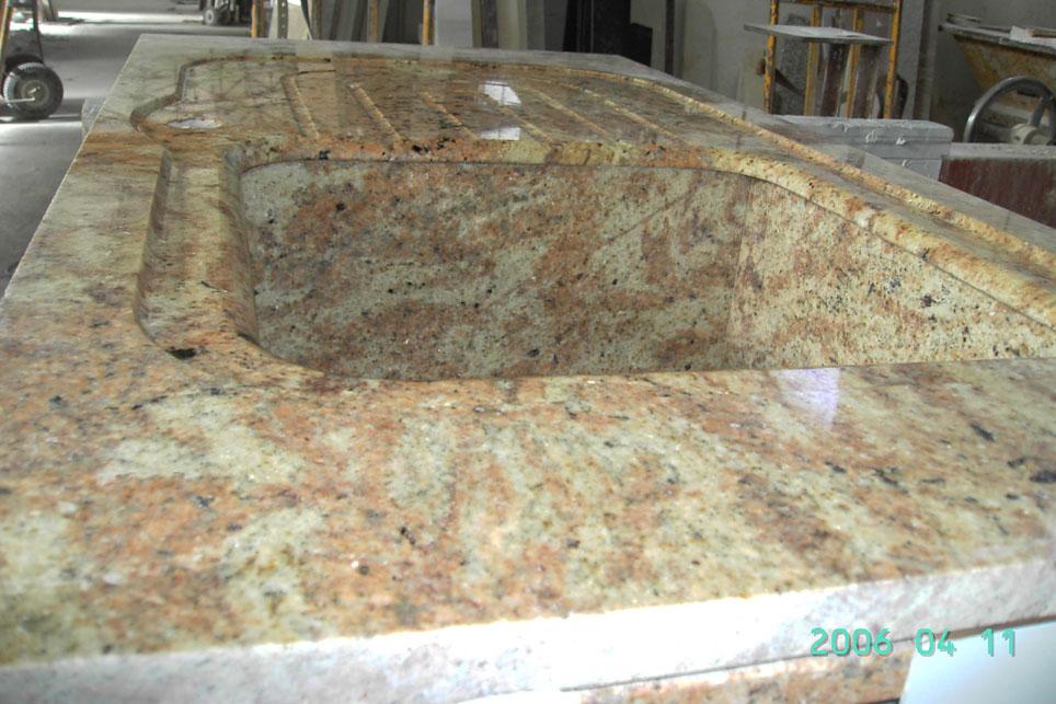 Fregadero integrado con base plana - Fregadero de granito ...